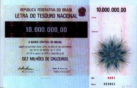 Letra do Tesouro Nacional (LTN) em 1970