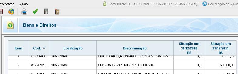 IRPF - Bens e Direitos - CDB