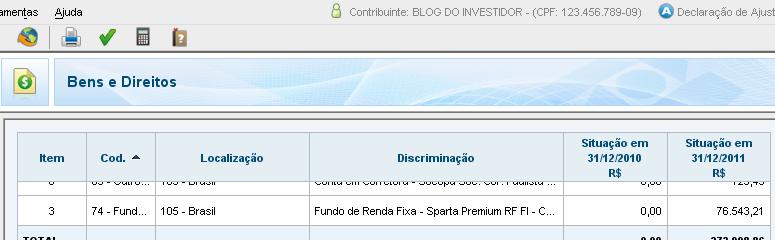 IRPF - Bens e Direitos - Fundos de Investimentos