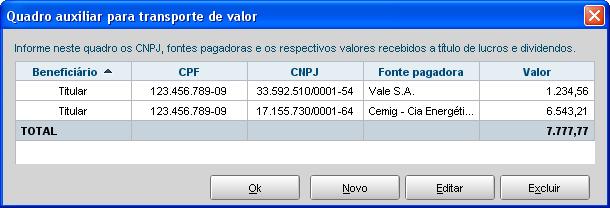IRPF 2012 - Rendimentos Isentos e Não Tributáveis - Dividendos - Quadro Auxiliar