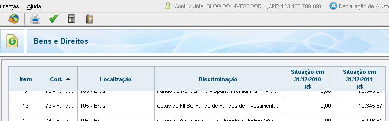 IRPF 2012 - Bens e Direitos - FII