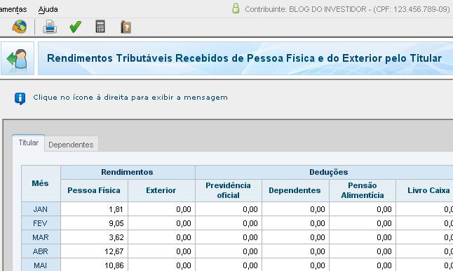 IRPF 2012 - Rendimentos Tributáveis Recebidos de PF/Exterior - Repasse do BTC